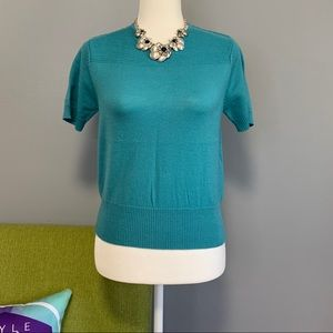 Carlisle Blue Wool Short Sleeve Sweater
